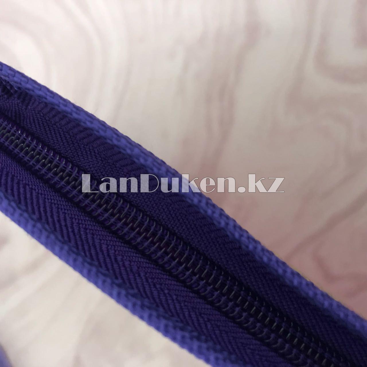 """Детская папка на молнии А4 пластиковая с тканевой окантовкой """"Принцесса на стуле"""" (фиолетовый) - фото 2"""