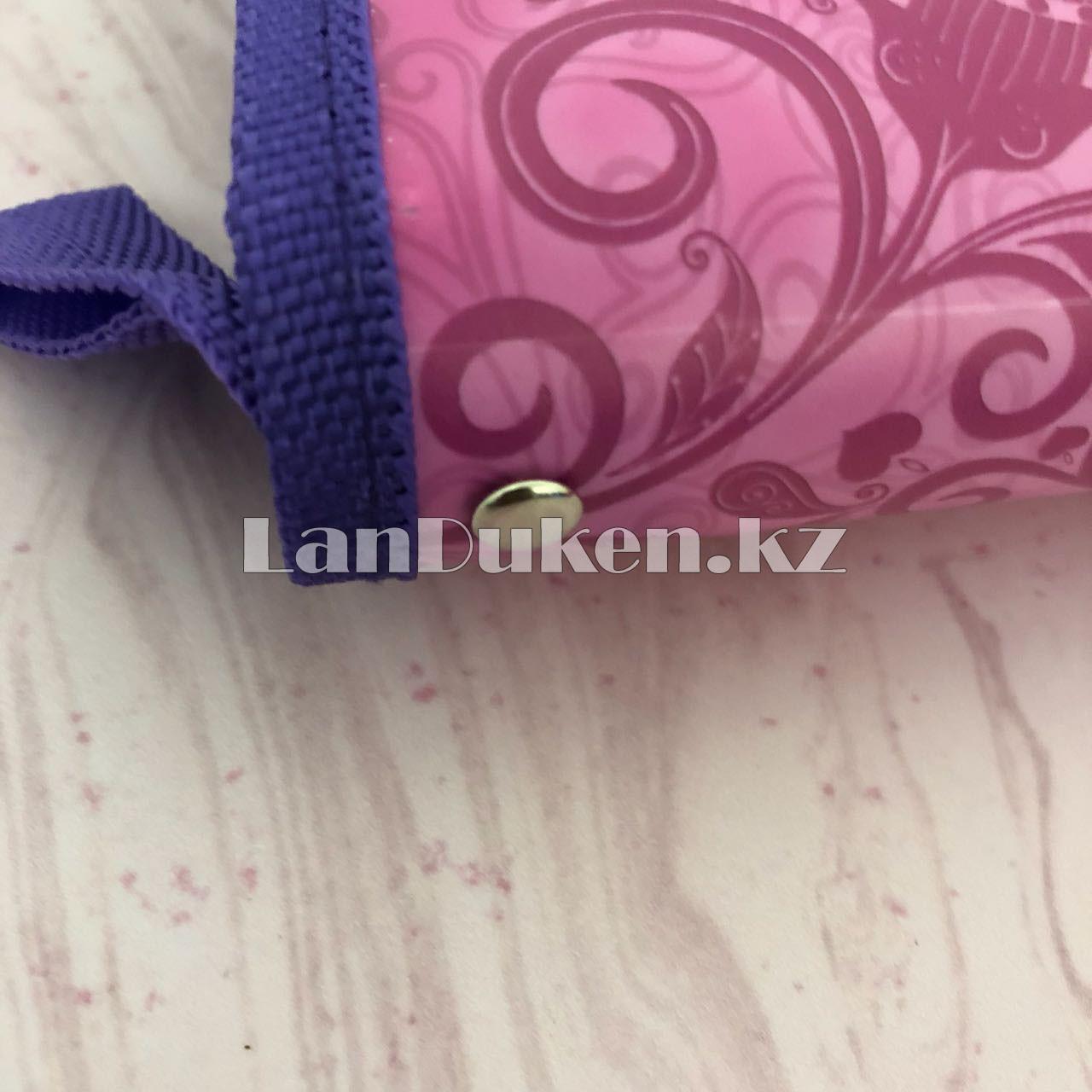 """Детская папка на молнии А4 пластиковая с тканевой окантовкой """"Принцесса на стуле"""" (фиолетовый) - фото 4"""