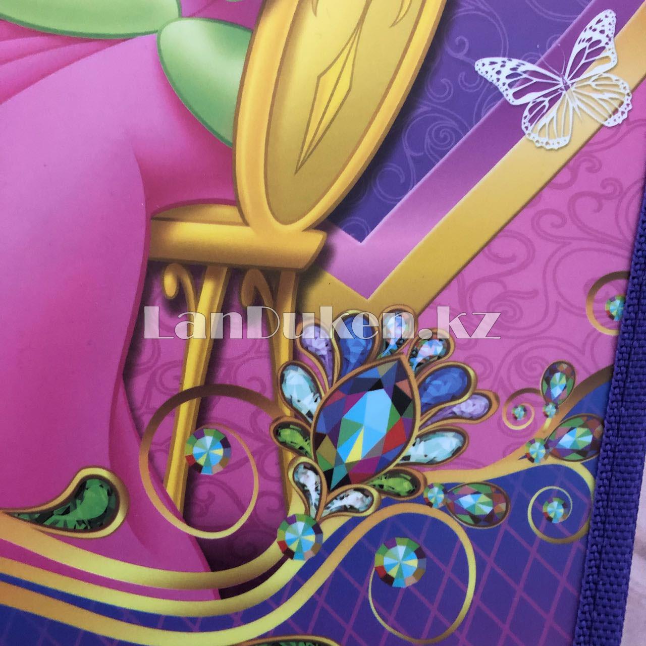 """Детская папка на молнии А4 пластиковая с тканевой окантовкой """"Принцесса на стуле"""" (фиолетовый) - фото 7"""