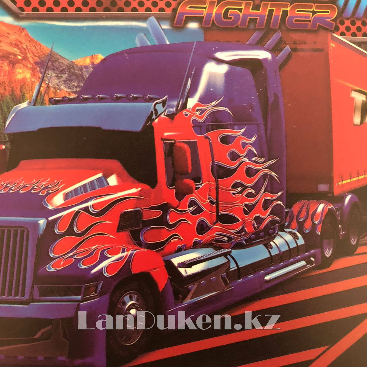"""Детская папка на молнии А4 пластиковая с тканевой окантовкой """"Огненный грузовик"""" (зеленая) - фото 6"""