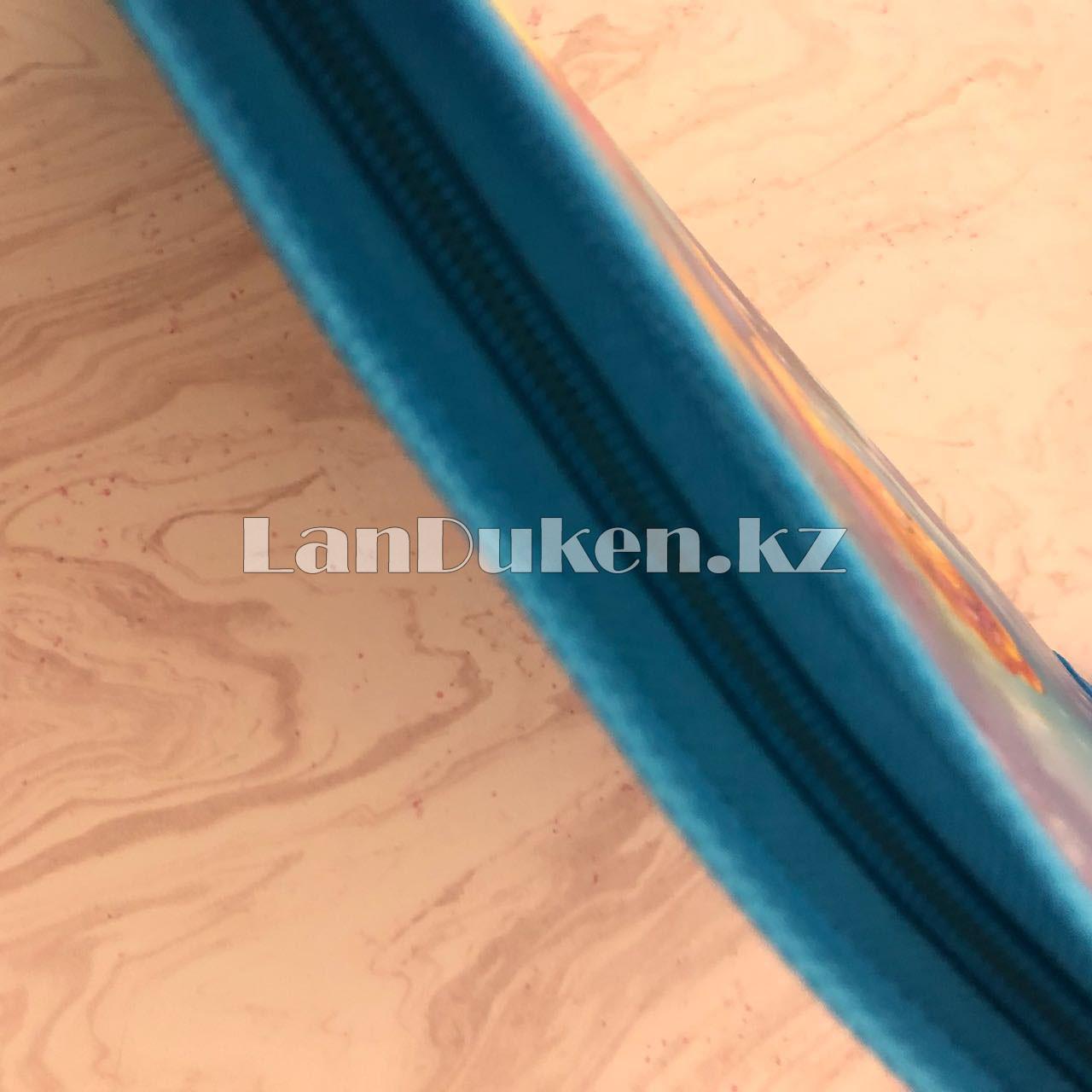 """Детская папка на молнии А4 пластиковая с тканевой окантовкой """"Принцесса"""" (голубая) - фото 2"""
