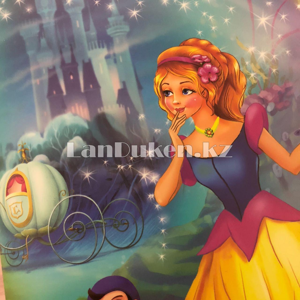 """Детская папка на молнии А4 пластиковая с тканевой окантовкой """"Принцесса"""" (голубая) - фото 5"""
