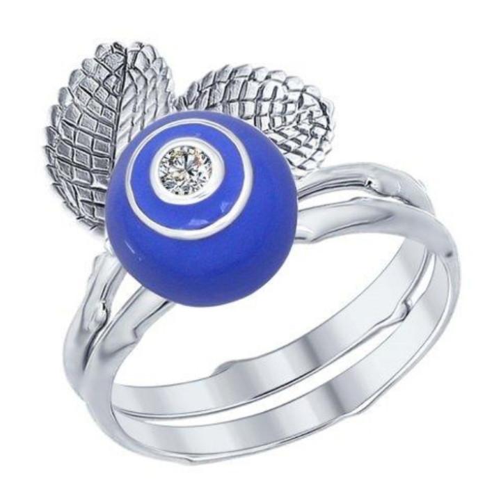 """Кольцо """"Голубика""""🔵🔵 / серебро - 18 размер"""