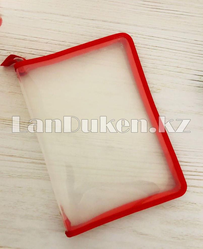 Папка на молнии А4 пластиковая с тканевой окантовкой (красная) - фото 1