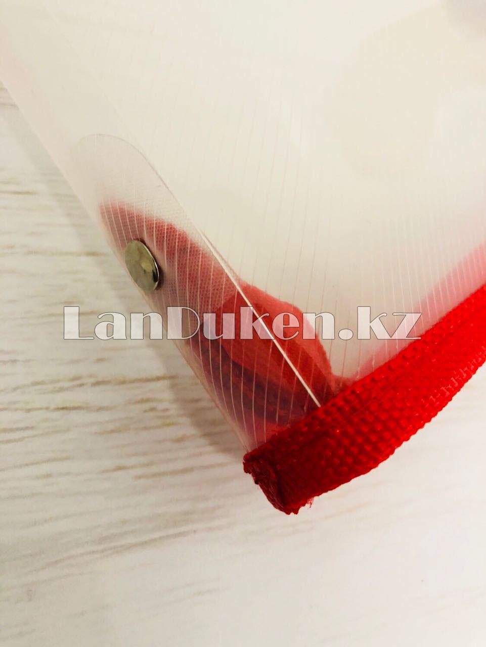 Папка на молнии А4 пластиковая с тканевой окантовкой (красная) - фото 2