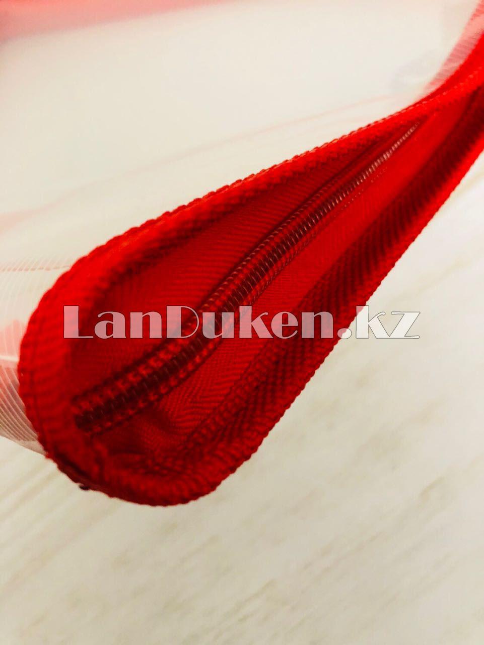 Папка на молнии А4 пластиковая с тканевой окантовкой (красная) - фото 6