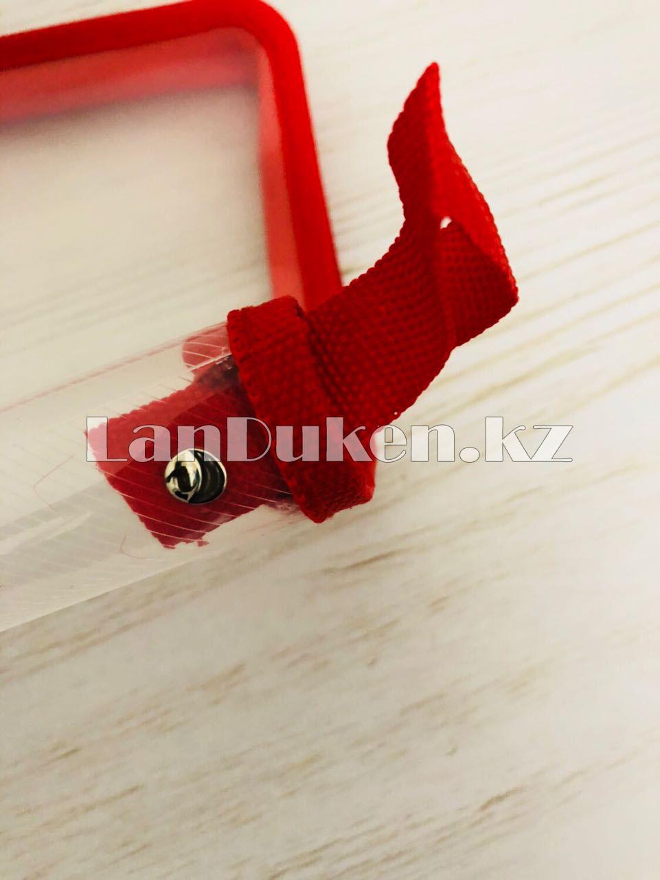 Папка на молнии А4 пластиковая с тканевой окантовкой (красная) - фото 3