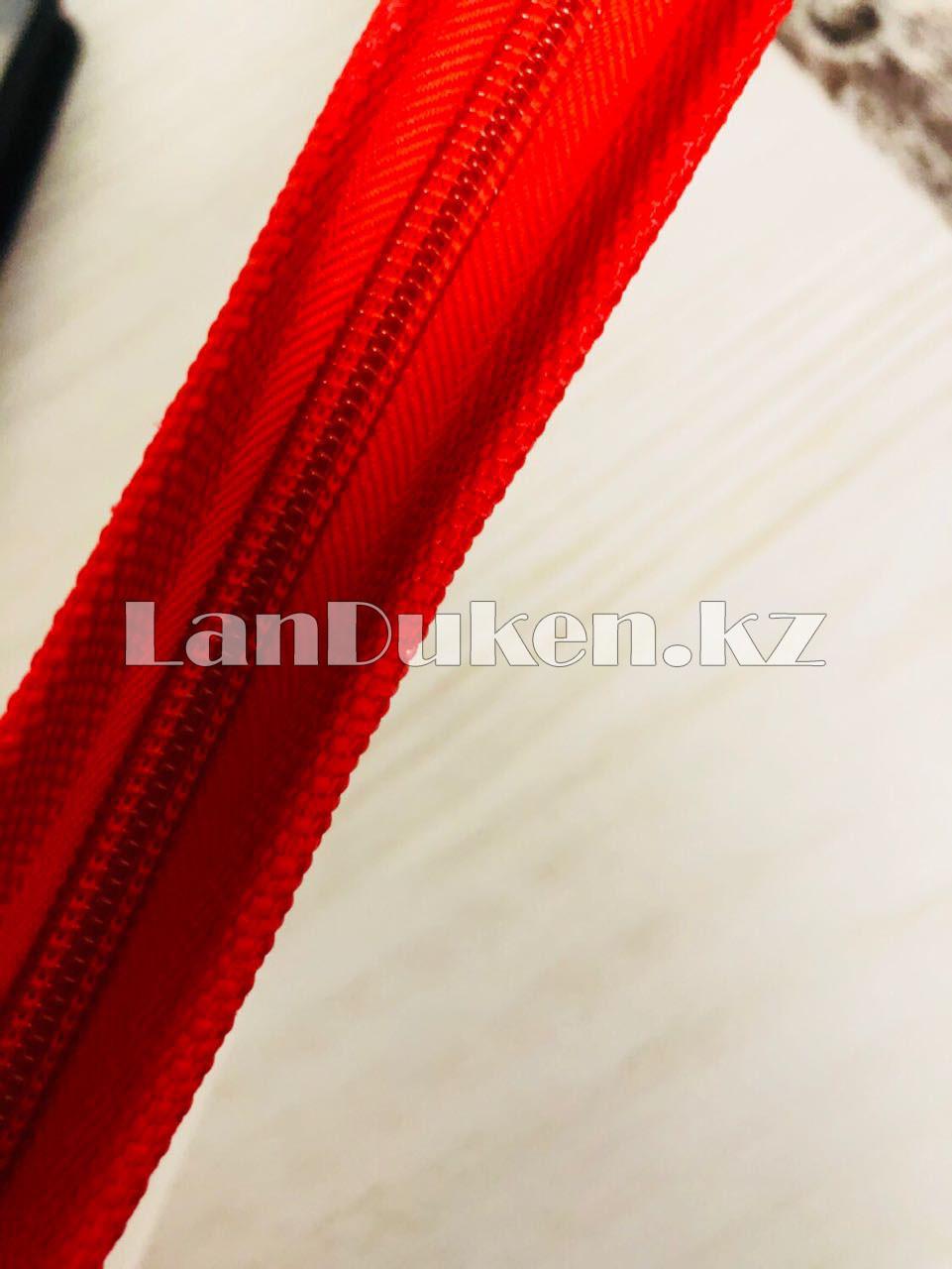 Папка на молнии А4 пластиковая с тканевой окантовкой (красная) - фото 4