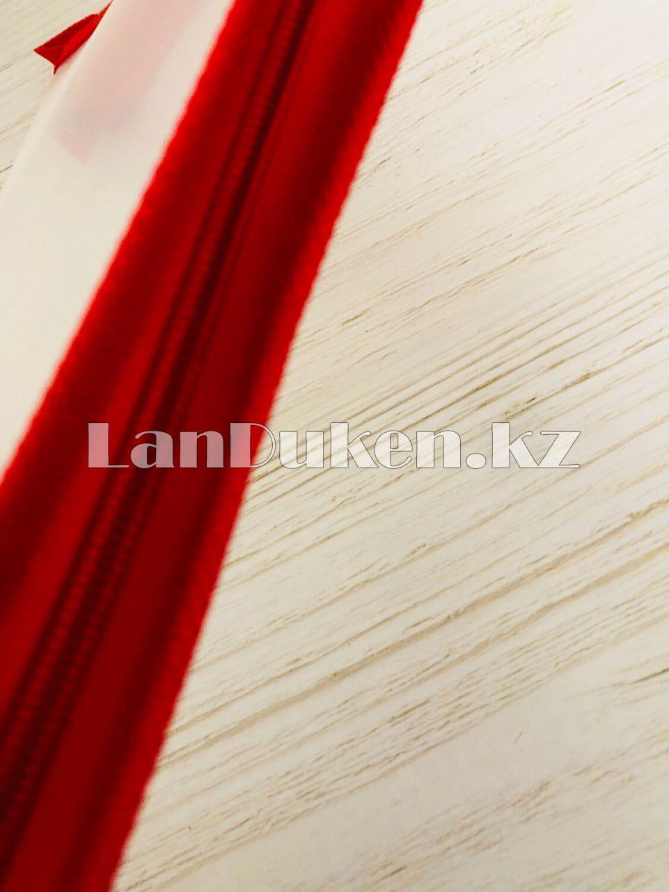 Папка на молнии А4 пластиковая с тканевой окантовкой (красная) - фото 5