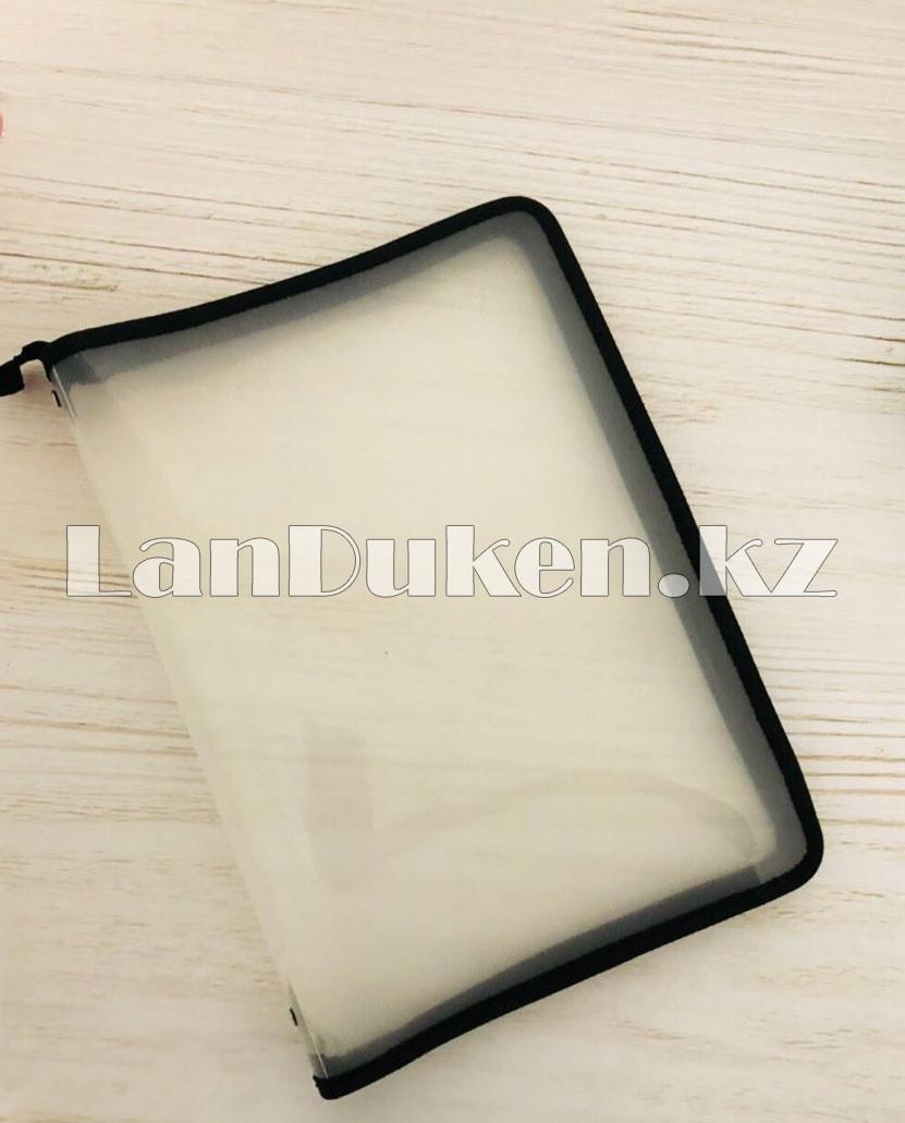 Папка на молнии А4 пластиковая с тканевой окантовкой (черная) - фото 1