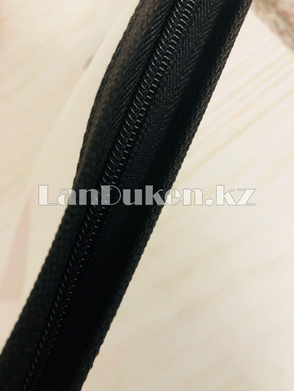 Папка на молнии А4 пластиковая с тканевой окантовкой (черная) - фото 4