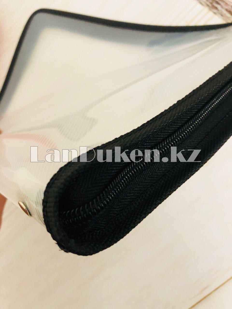 Папка на молнии А4 пластиковая с тканевой окантовкой (черная) - фото 5