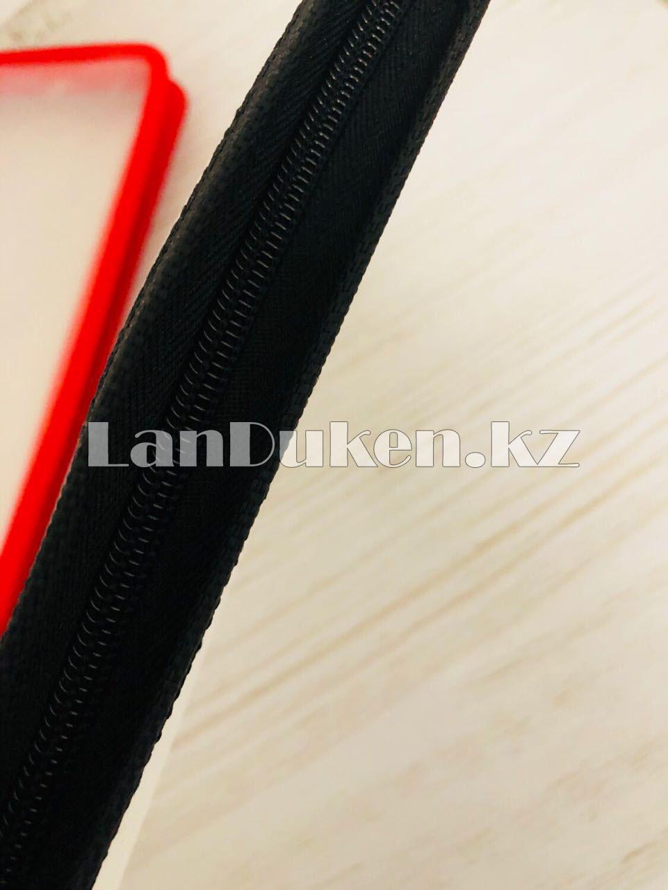 Папка на молнии А4 пластиковая с тканевой окантовкой (черная) - фото 6