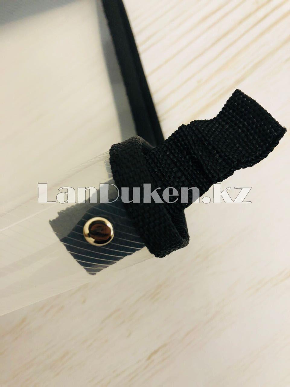 Папка на молнии А4 пластиковая с тканевой окантовкой (черная) - фото 7