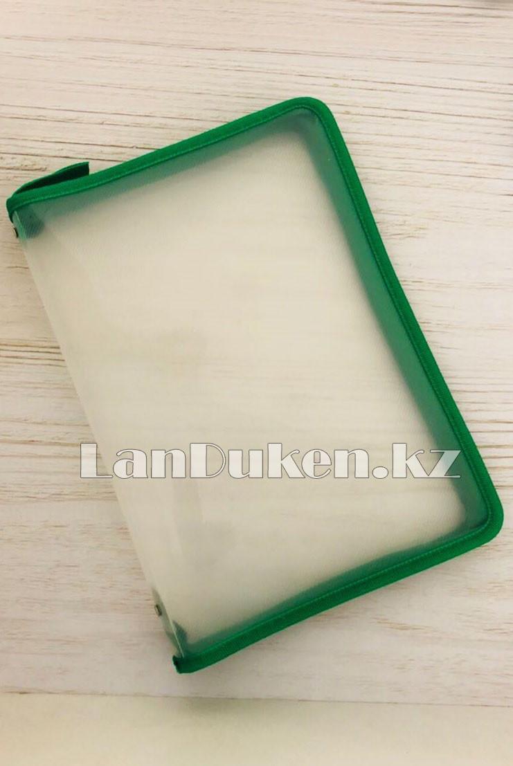 Папка на молнии А4 пластиковая с тканевой окантовкой (зеленая) - фото 1