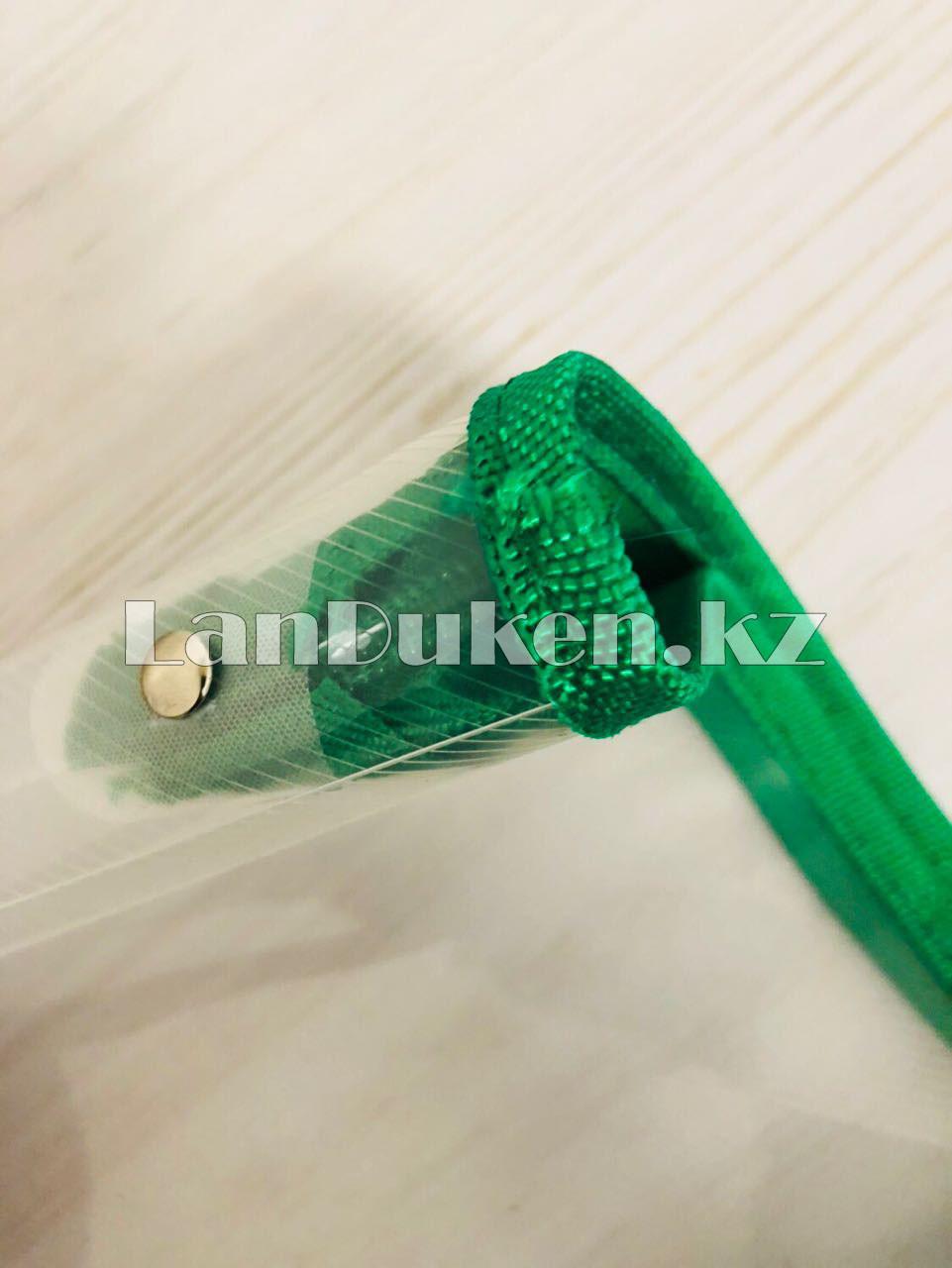Папка на молнии А4 пластиковая с тканевой окантовкой (зеленая) - фото 3