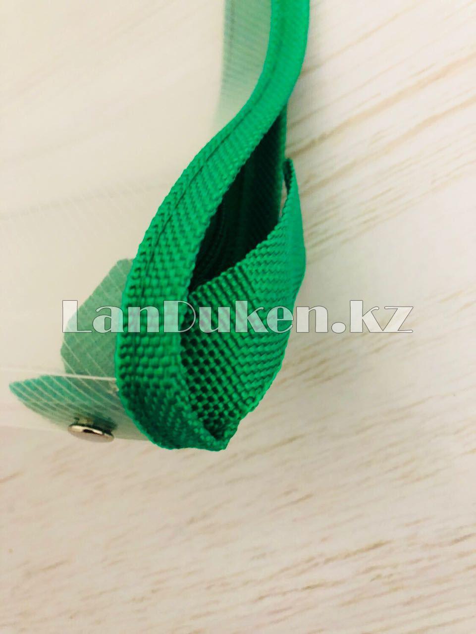 Папка на молнии А4 пластиковая с тканевой окантовкой (зеленая) - фото 6
