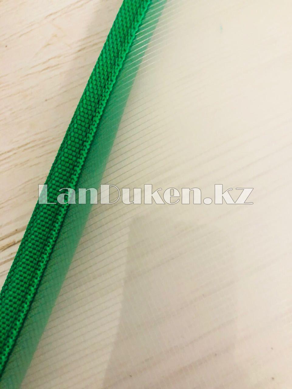 Папка на молнии А4 пластиковая с тканевой окантовкой (зеленая) - фото 7