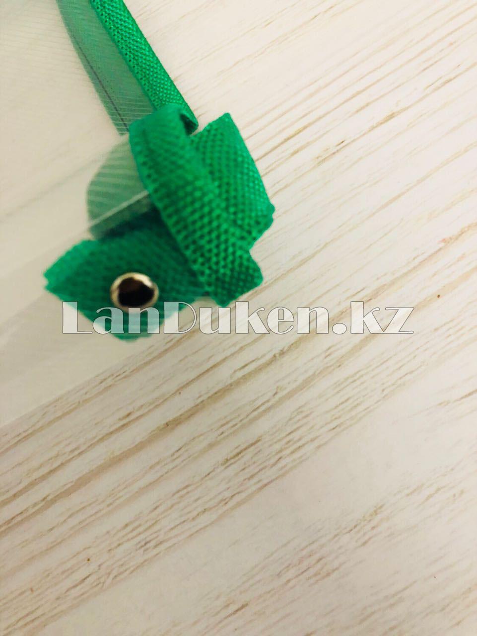 Папка на молнии А4 пластиковая с тканевой окантовкой (зеленая) - фото 5