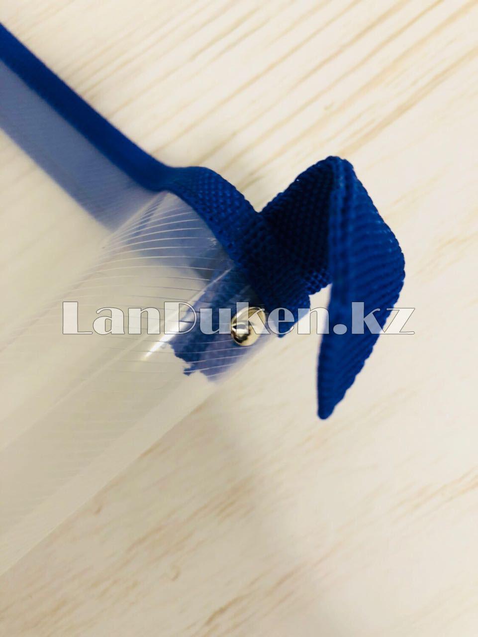 Папка на молнии А4 пластиковая с тканевой окантовкой (синяя) - фото 3