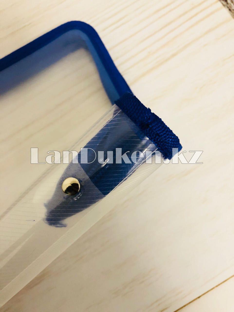 Папка на молнии А4 пластиковая с тканевой окантовкой (синяя) - фото 2
