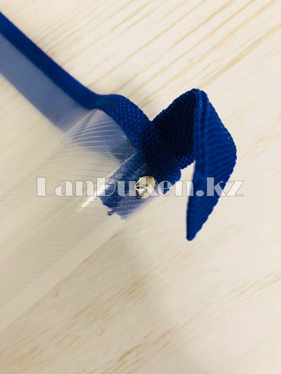 Папка на молнии А4 пластиковая с тканевой окантовкой (синяя) - фото 4