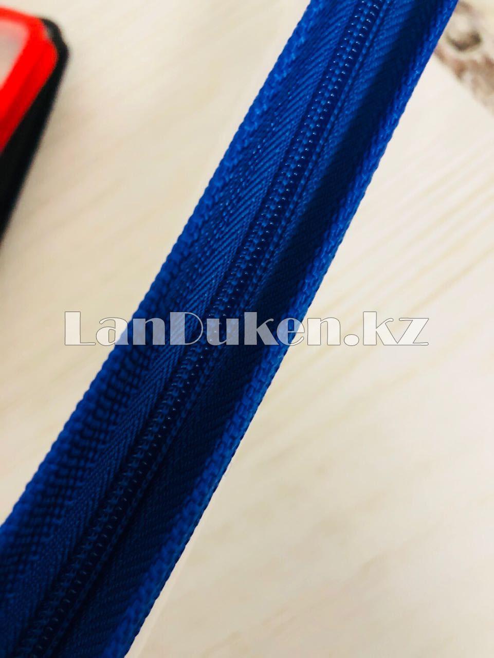 Папка на молнии А4 пластиковая с тканевой окантовкой (синяя) - фото 6
