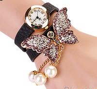 """Часы женские наручные """"Игривая бабочка"""" черные"""