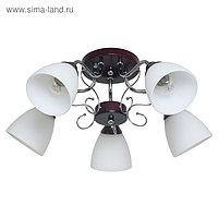 "Люстра ""Пиафлор"" 5 ламп 60W E27 основание хром коричневый 60х60х23,5 см"