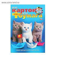 """Набор А4 """"Милые котята"""": цветная бумага (16 листов, 16 цветов), цветной картон (10 листов, 10 цветов)"""
