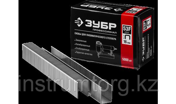 ЗУБР 16  мм скобы для степлера плоские тип 53F, 5000 шт
