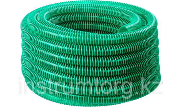 ЗУБР Шланг напорно-всасывающий со спиралью ПВХ, 3 атм, 32мм х 15м