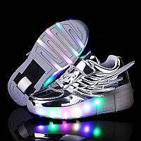 Кроссовки на роликах с подсветкой, серебряные крылья, фото 1