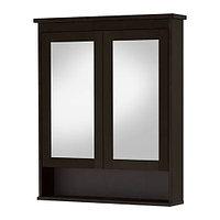 Зеркальный шкаф с 2 дверцами ХЕМНЭС черно-коричнев ИКЕА, IKEA , фото 1