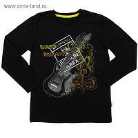 """Кофточка с длин.рукавом для мальчика """"Звуки музыки"""", рост 128 (64), цвет черный"""