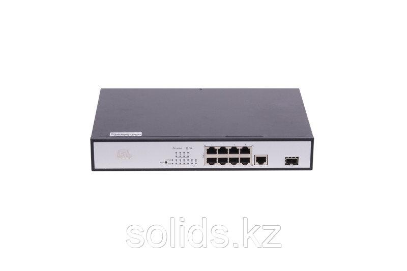 Коммутатор Web Smart, 8 PoE (802.3af/at) портов 100Мб/с, 1 RJ45 1Gbps, 1 SFP 1Gbps, 150Вт