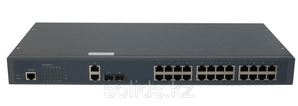 Коммутатор GIGALINK, L2, 24 PoE (802.3af/at) портов 100Мб/с, 2 ComboSFP 1000Мб/с, 1 Console, 400Вт