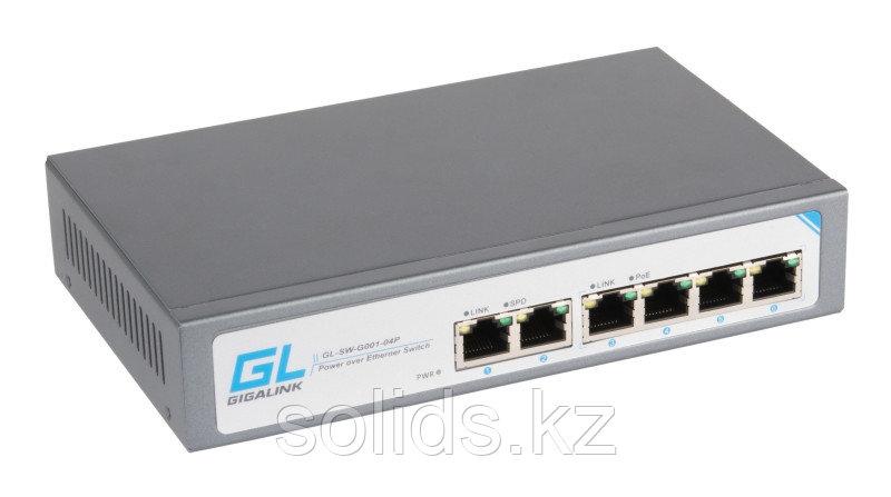 Коммутатор 4 PoE (802.3af) порта 1Гб/с, 2 Uplink порт 1Гб/с, 60Вт
