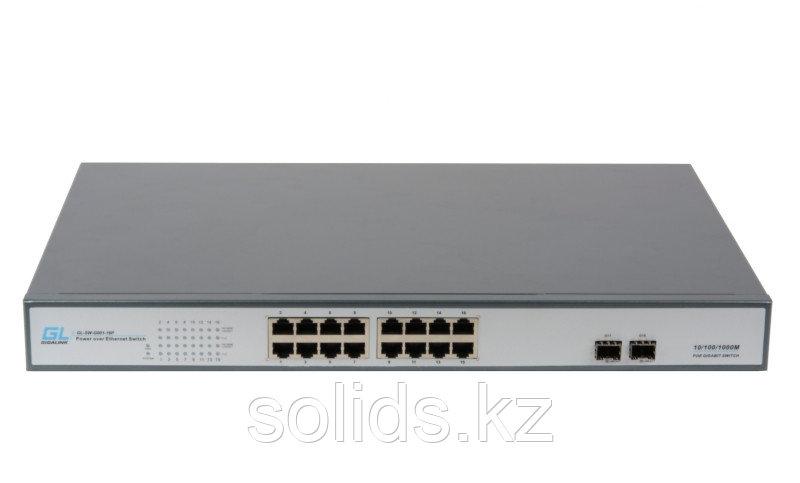 Коммутатор 16 PoE (802.3af/at) портов 1Гбит/с, 2 SFP, 250Вт