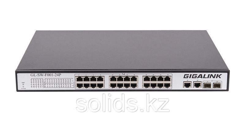 Коммутатор 24 PoE (802.3af/at) порта 100Мбит/с, 2 ComboSFP 1000Мбит/с, 400Вт
