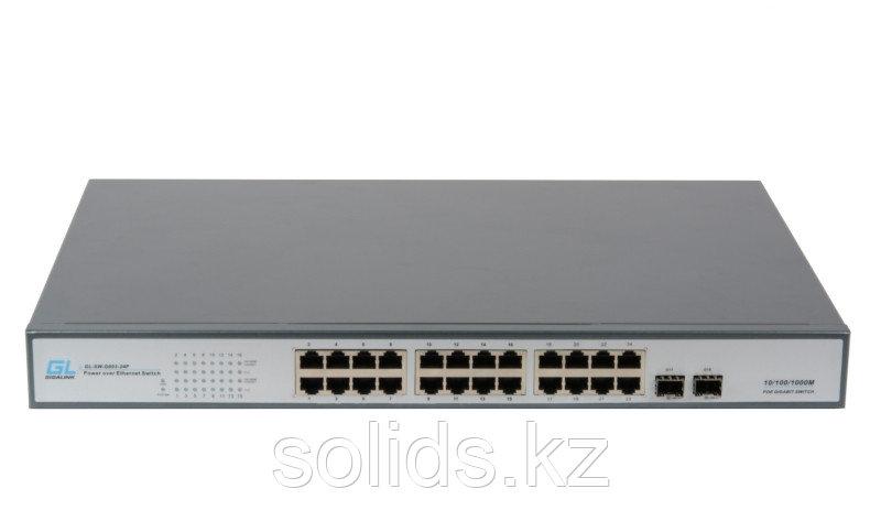 Коммутатор 24 PoE (802.3af/at) портов 1Гбит/с, 2 SFP, 250Вт