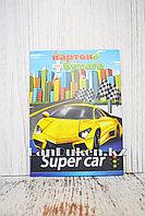 Набор двухстороннего цветного картона и цветной бумаги Yalong JYCZ-20-94 Супер кар Ламборгини желтая