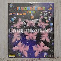 Фосфорные бабочки розовые 3D наклейки на потолок в детскую