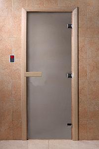 """Дверь стеклянная банная """"Банное утро"""" (Сатин), 700х1900 мм, 3 петли, коробка хвоя"""