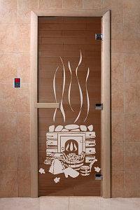 """Дверь стеклянная банная """"Банька"""", 3 петли,  стекло 8 мм, коробка Ольха"""