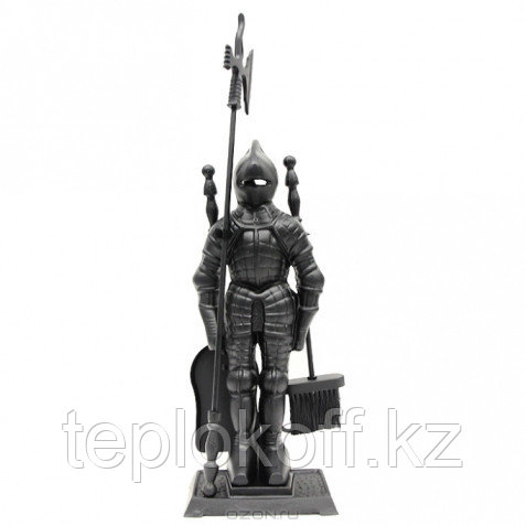 Набор для камина РЫЦАРЬ, 3 предмета на подставке, 72,5х15х24,5 см, черный