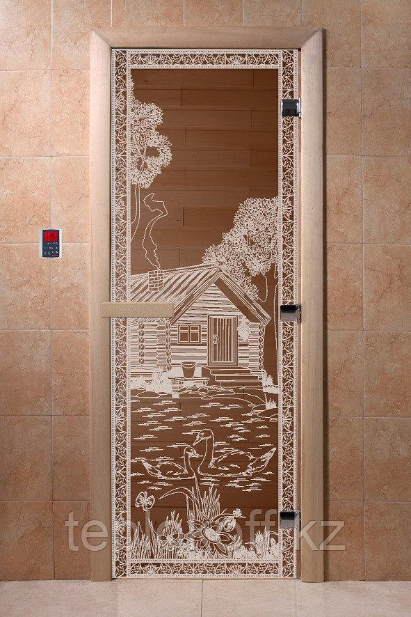 """Дверь стеклянная банная """"Банька в лесу"""", 3 петли,  стекло 8 мм, коробка Ольха"""