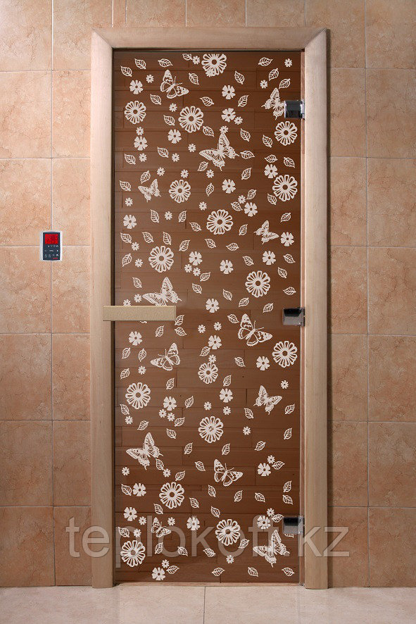 """Дверь стеклянная банная """"Весна"""", 3 петли,  стекло 8 мм, коробка Ольха"""