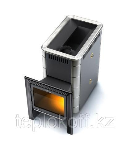 Печь для бани ТМФ Тунгуска Inox Витра теплообменник антрацит нержавеющие вставки