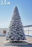"""Высотная интерьерная новогодняя ёлка со снегом """"Сибирь Платинум"""" - 3,5 метра"""